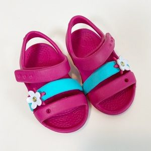 Crocs Pink Sandals with Flower size 4